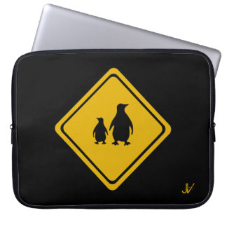penguins road sign laptop sleeves