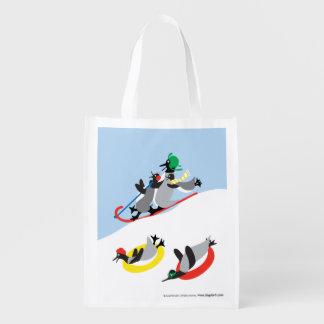 Penguins Sledding Reusable Grocery Bag