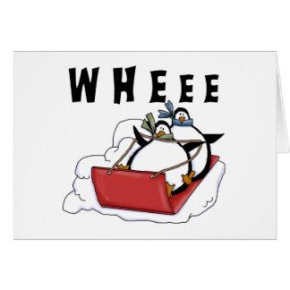 Penguins Sledding Tshirts and Gifts Card