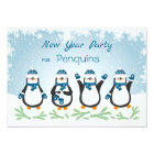 Penguins, snowflakes New Year Card