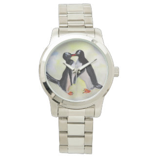 Penguins Time For Kiss Oversized Silver Bracelet Wristwatches