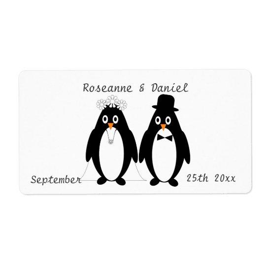 Penguins Wedding Favour Label Shipping Label