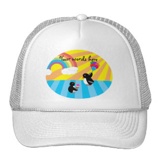 Penguins with ice cream and balloons trucker hat
