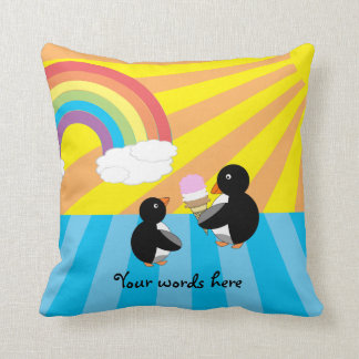 Penguins with ice cream and rainbow throw cushions