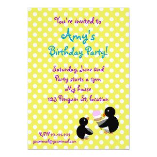 "Penguins with ice cream on yellow polkadots invite 5"" x 7"" invitation card"
