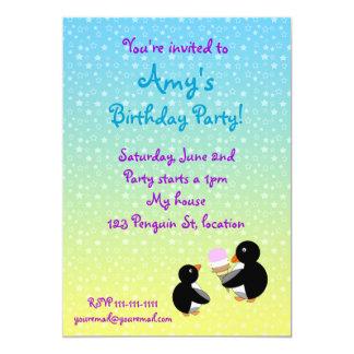 "Penguins with ice creamon blue yellow stars 5"" x 7"" invitation card"
