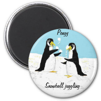 Pengy Penguin, snowball juggling 6 Cm Round Magnet