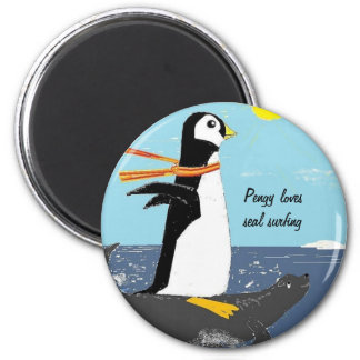 Pengy, Seal Surfing 6 Cm Round Magnet