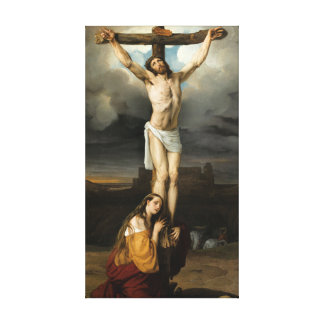Penitent Magdalene at the Foot of the Cross Canvas Print