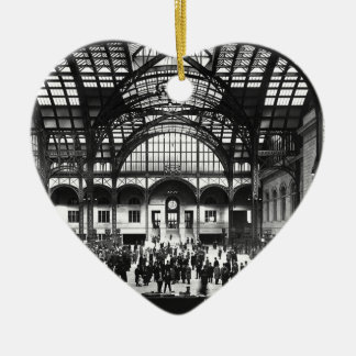 Penn Station New York City Vintage Railroad Ceramic Heart Decoration