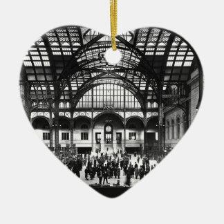 Penn Station New York City Vintage Railroad Ceramic Heart Decoration
