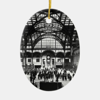 Penn Station New York City Vintage Railroad Ceramic Oval Decoration