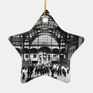 Penn Station New York City Vintage Railroad Ceramic Star Decoration