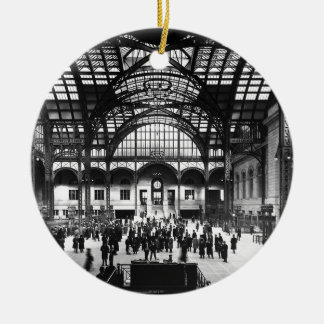 Penn Station New York City Vintage Railroad Round Ceramic Decoration