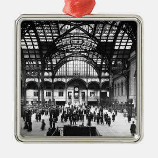 Penn Station New York City Vintage Railroad Silver-Colored Square Decoration