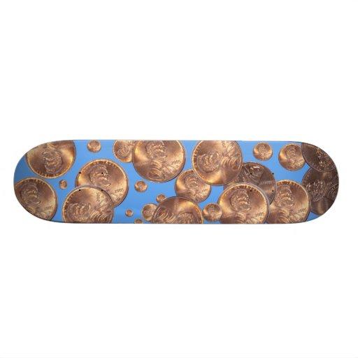 """ pennies from heaven "" skate board deck"