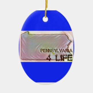 """Pennsylvania 4 Life"" State Map Pride Design Ceramic Ornament"