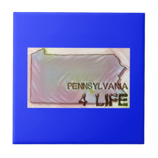 """Pennsylvania 4 Life"" State Map Pride Design Tile"