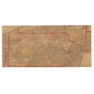 Pennsylvania and New Jersey Wood USB 2.0 Flash Drive