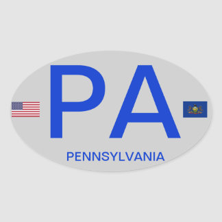 Pennsylvania* Euro Style Oval Sticker