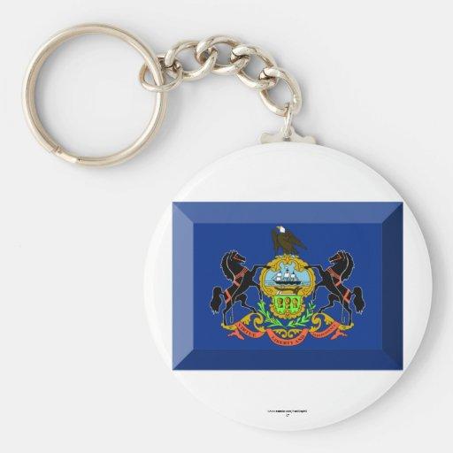 Pennsylvania Flag Gem Keychain