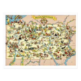 Pennsylvania Funny Vintage Map Postcard