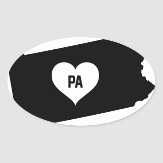 Pennsylvania Love Oval Sticker