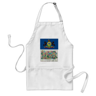 Pennsylvania Map and State Flag Adult Apron