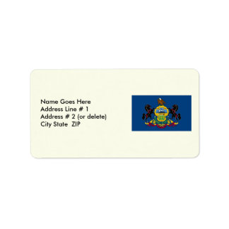 Pennsylvania Map and State Flag Address Label
