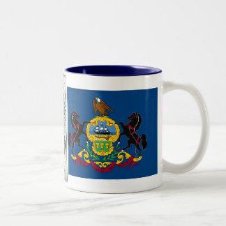 Pennsylvania Map and State Flag Two-Tone Mug
