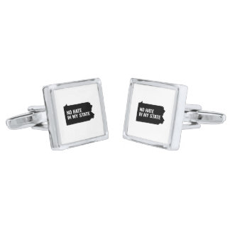 Pennsylvania: No Hate In My State Silver Finish Cufflinks