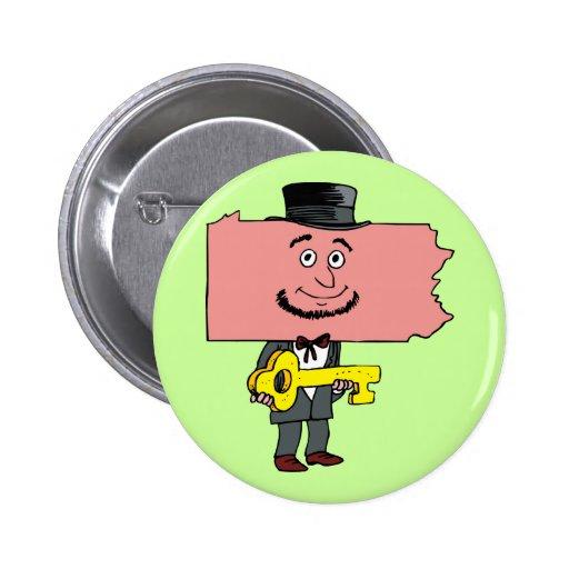 Pennsylvania PA Key State Vintage Travel Souvenir Buttons
