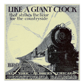 Pennsylvania Railroad Broadway Limited 1929 Poster