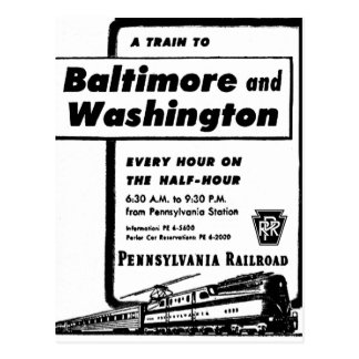 Pennsylvania Railroad Hourly Trains 1948 Postcard
