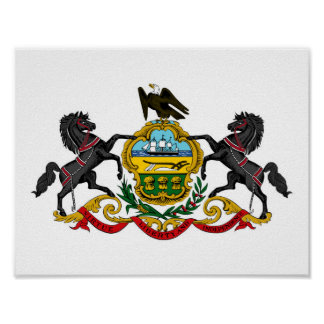 Pennsylvania state coat arms flag united america r poster
