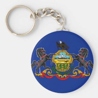Pennsylvania state flag usa united america symbol basic round button key ring