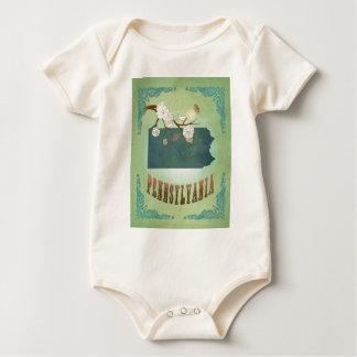 Pennsylvania State Map – Green Baby Bodysuit