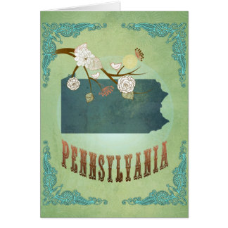 Pennsylvania State Map – Green Greeting Card