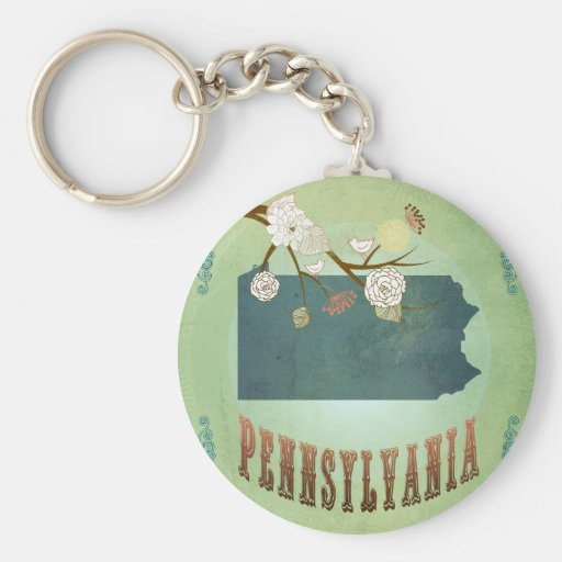 Pennsylvania State Map – Green Key Chains