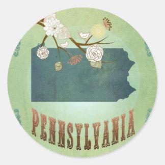 Pennsylvania State Map – Green Round Sticker
