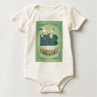Pennsylvania State Map – Green Baby Bodysuits
