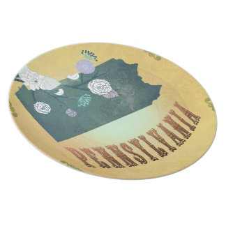 Pennsylvania State Map- Passion Fruit Yellow Plates