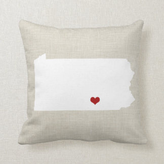 Pennsylvania State Pillow Faux Linen Personalized Cushions