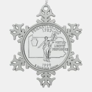 Pennsylvania State Quarter Snowflake Pewter Christmas Ornament
