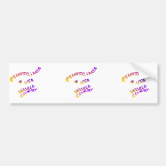 Pennsylvania world country, colorful text art bumper sticker