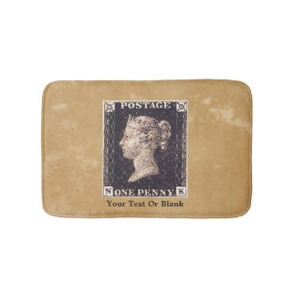Penny Black Postage Stamp Bath Mats