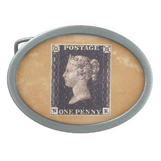 Penny Black Postage Stamp Oval Belt Buckle