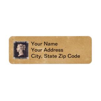 Penny Black Postage Stamp Return Address Label