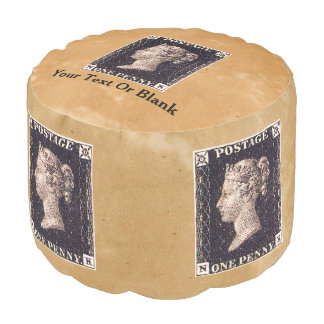 Penny Black Postage Stamp Round Pouf