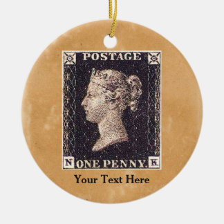 Penny Black Postage Stamp Round Ceramic Decoration